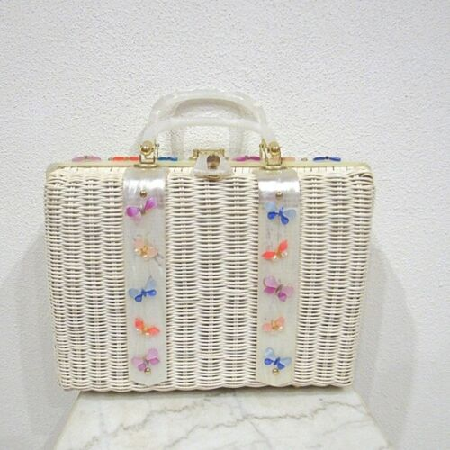 1950s Lucite Butterfly Wicker Purse VGUC
