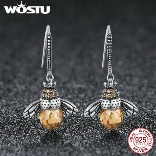 Wostu Mignon Bee S925 Sterling Silver Ear Stud Dangle Boucles d/'oreilles avec Cristal Cadeau