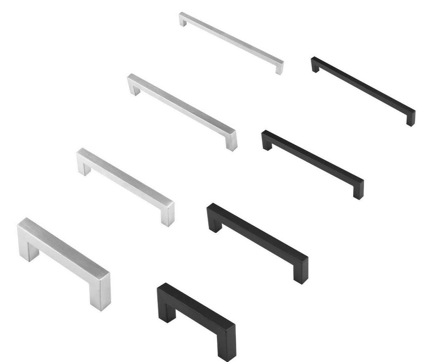 25 Square Stainless Steel Pull Handle For Drawer Kitchen Cabinet Hardware Pack