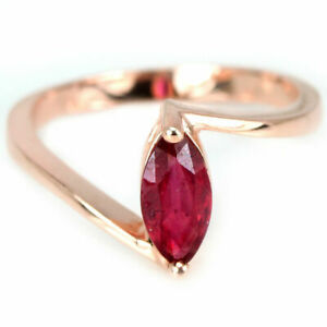 1.5 CT MARQUISE CUT RED RUBY STERLING 925 SILVER SOLITAIRE PROMISE PROPOSAL...