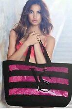 Victorias Secret Pink And Black Sequin Tote Weekender Bag