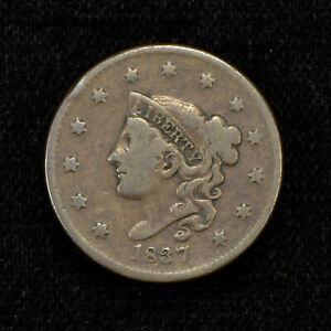 1837 1c CORONET HEAD LARGE CENT, VG COIN LOT#Y482