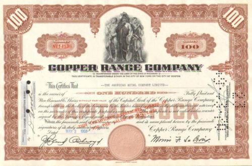 Copper Range Company /> Michigan 1955 mining stock certificate share
