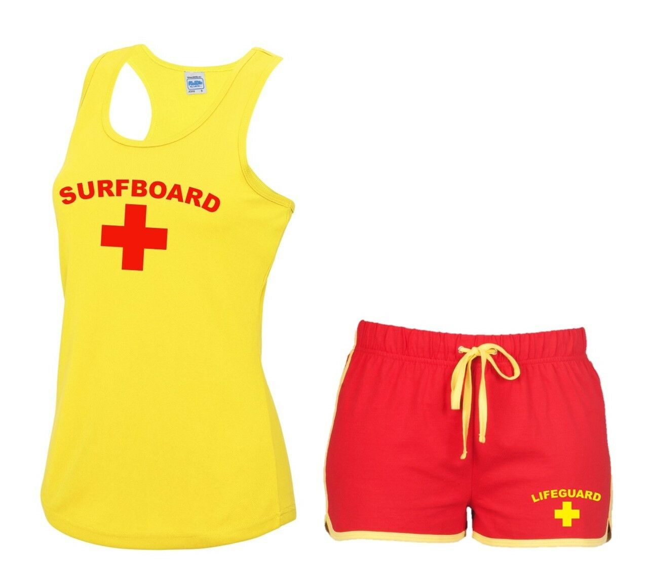 Ladies Yellow Lifeguard Vests 8-16 Hen Do Party Fancy Dress Costume Funny Outfit