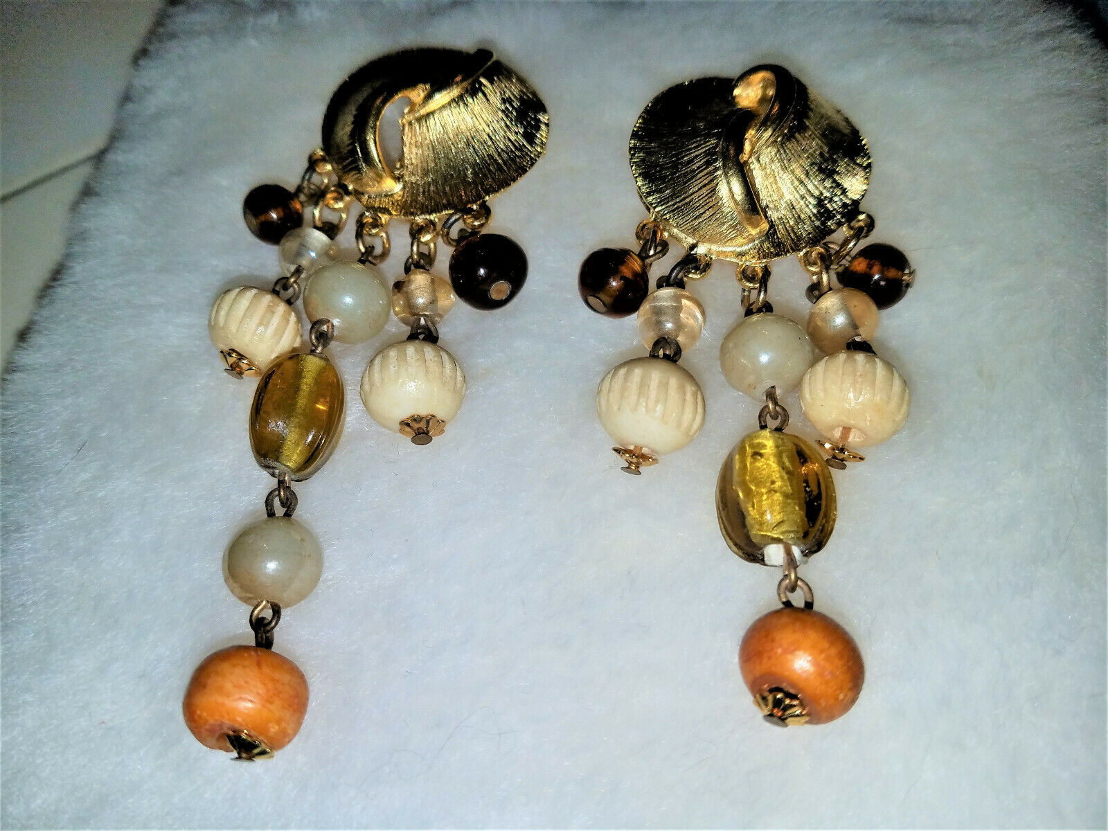 Vintage Signed CRAFT Clip on Earrings Large Etruscan Style Statement Piece Gem-Craft