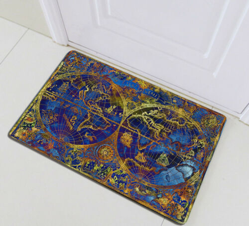 "72x72/"" Vintage Blue Gold World Map Fabric Shower Curtain Set Bathroom w// Hooks"