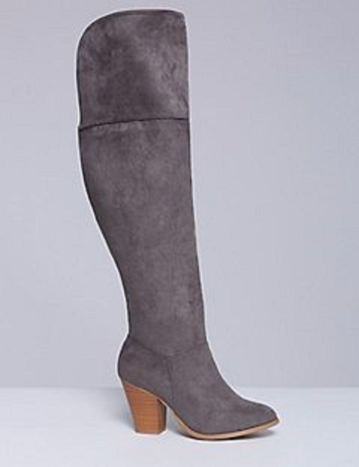 WOMEN'S Grey CASTLE WALL Over The Knee BOOTS 3 3 4 Block Heel  SZ 12 Wide  NEW