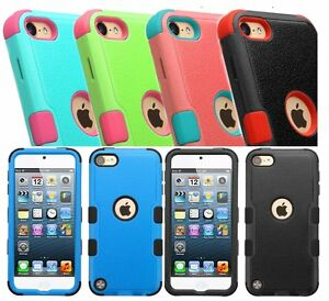2 Pack Hard /& Soft Rubber Hybrid Rugged Case For iPod Touch 5th /& 6th Gen
