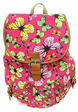 Women's Travel Outdoor Canvas Backpack Large Size Padded Strap HotPink Butterfly
