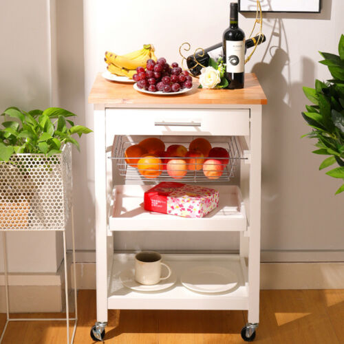 Small Kitchen Storage Serving Trolley Cart with Fruit Basket Drawer WTE Tray