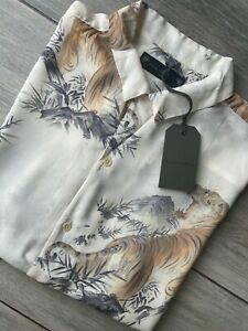 """ALL SAINTS ECRU WHITE /""""KAYAN/"""" FLORAL VISCOSE S//S SHIRT TOP NEW /& TAGS SMALL"""