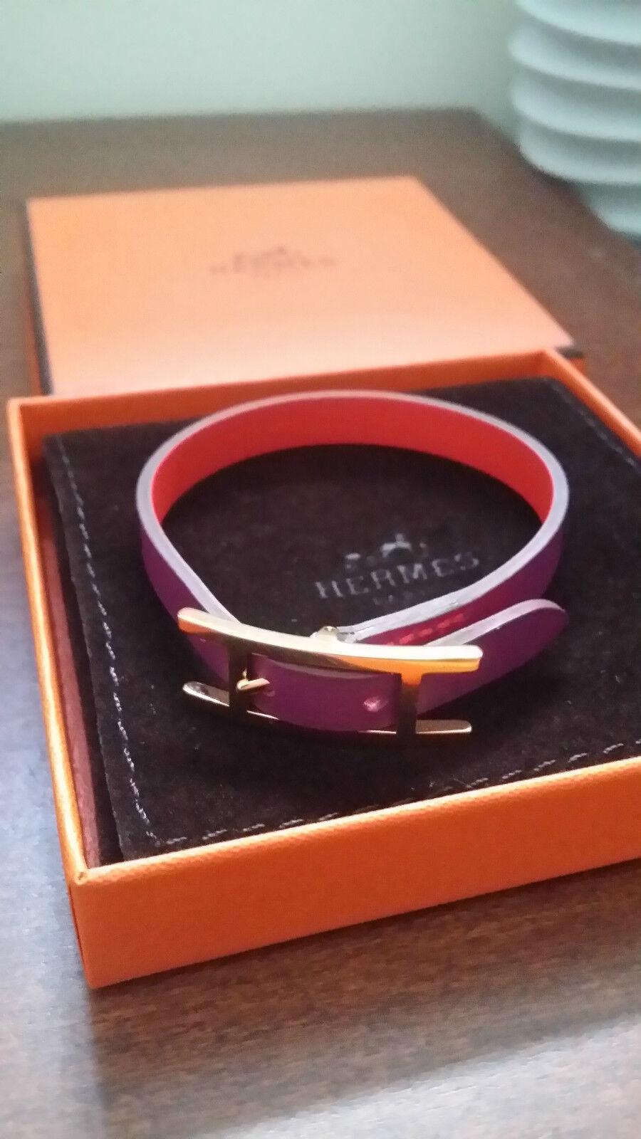 Hermes Behapi Simple Tour (size S) - Reversible leather bracelet