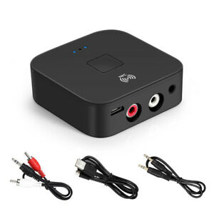 NFC Wireless Bluetooth 5.0 Audio Transmitter Receiver Music Adapter AUX RCA Jack