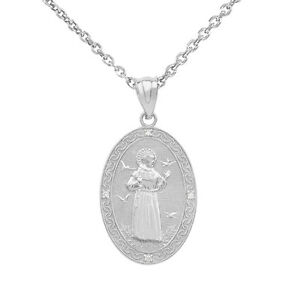 White gold saint francis of assisi oval medallion diamond small image is loading white gold saint francis of assisi oval medallion aloadofball Choice Image