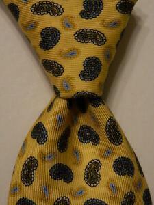 BRIONI-Men-039-s-Silk-XL-Necktie-ITALY-Luxury-Designer-PAISLEY-Yellow-Blue-Black-GUC