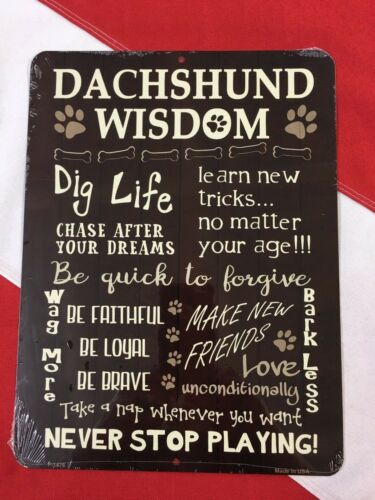 METAL SIGN Dachshund wisdom  novelty GIFT made in USA dog sign puppy summer