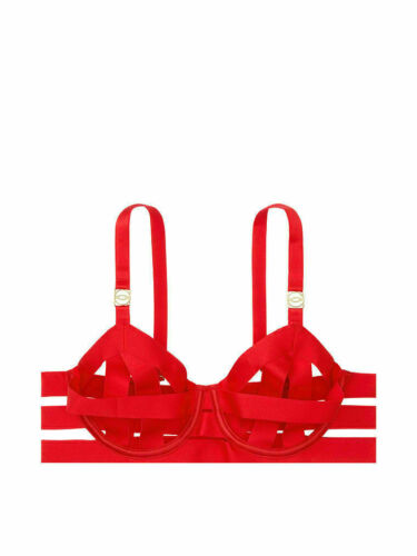 Victoria/'s Secret Luxe Lingerie Banded Unlined Strappy Demi Bra Size Red