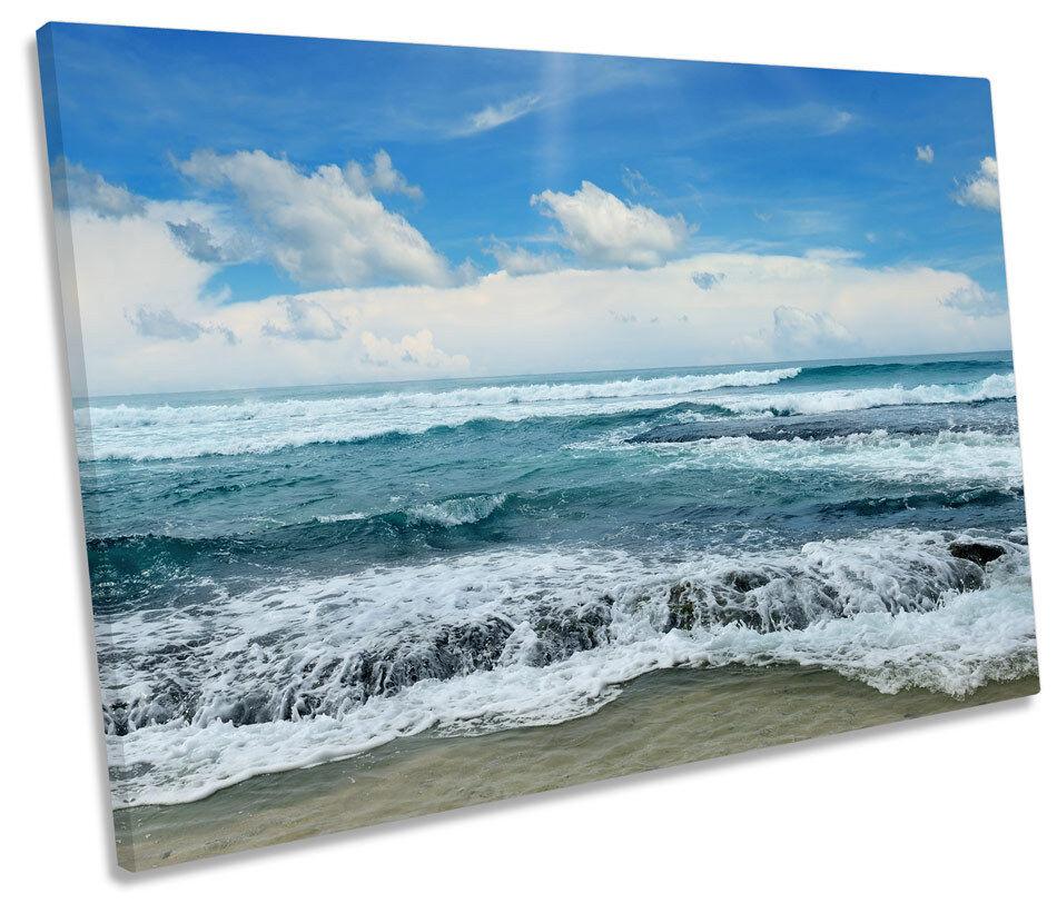 Blau Seascape Beach Wave CANVAS WALL ART SINGLE Picture Print