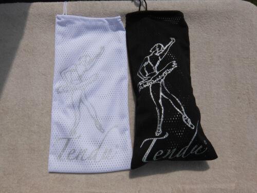 Tendu drawstring pointe shoe bags with dancer motif black or white