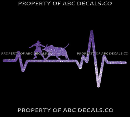 VRS Heart Beat Line COUNTRY Cowboy Hat Rodeo Clown Bull Riding CAR METAL DECAL