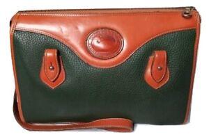 Vintage Dooney & Bourke AWL Zip Top Shoulder Bag Purse Green- British Tan Large