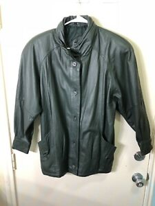 Vintage-Pelle-New-York-Milano-Leather-Jacket-Green-Size-Small-Buttons-Women-039-s