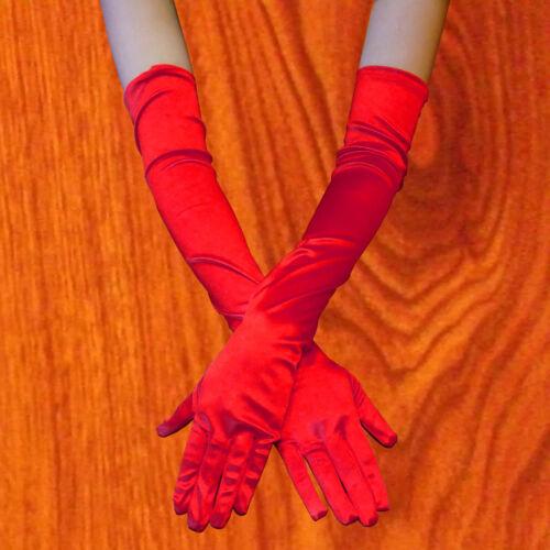 Women Evening Party Opera Bridal Wedding Satin Arm Hand Sleeve Long Gloves RED