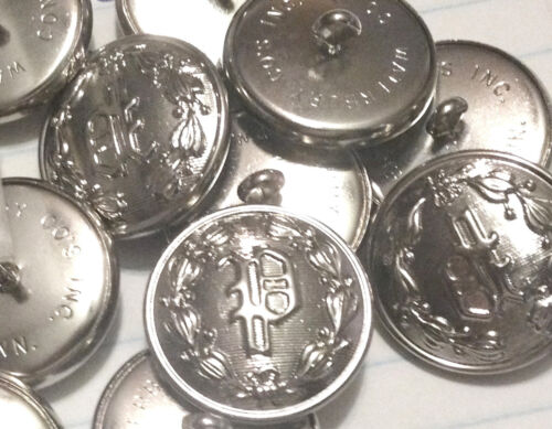 "NOS Nickel 7//8/"" /""P/"" POLICE BOUTONS D/'UNIFORME-WATERBURY button Co"