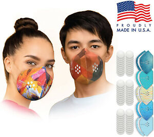 10 Face Mask w/ Filter Multi-usable Multiple Pattern Sanitizable Made in USA