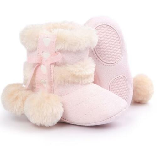 Kids Baby Girls Soft Booties Winter Warm Snow Boots Bowknot Sole Shoes 0-18M AB