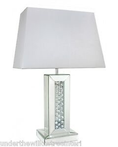 Image Is Loading Astoria Mirror Floating Crystal Table Lamp With Rectangular