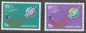 United-Nations-NY-1965-MNH-Sc-141-142-Telecommunication-union-ITU-Satellite