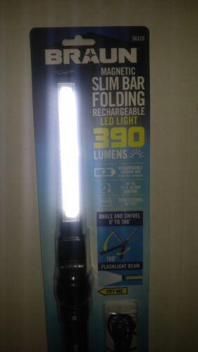 BRAUN SLIM BAR RECHARGEABLE LED WORK LIGHT//FLASHLIGHT MAGNET BASE 390 LUMENS