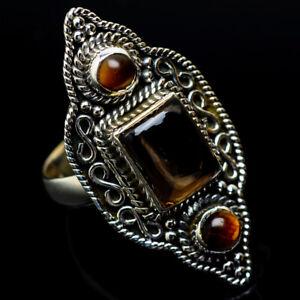 Smoky-Quartz-Tiger-Eye-925-Sterling-Silver-Ring-Size-8-Ana-Co-Jewelry-R19371F