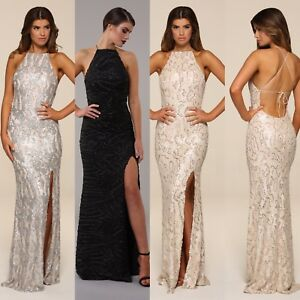 Image is loading Honor-Gold-Harley-Sequin-Maxi-Evening-Dress-Backless- 9d14106e1