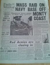 Daily Mirror NEWSPAPER-WW2- Apr 19th 1945- Mass raid on Heligoland Navy Base.