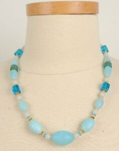 Vintage-Glass-Blue-Necklace