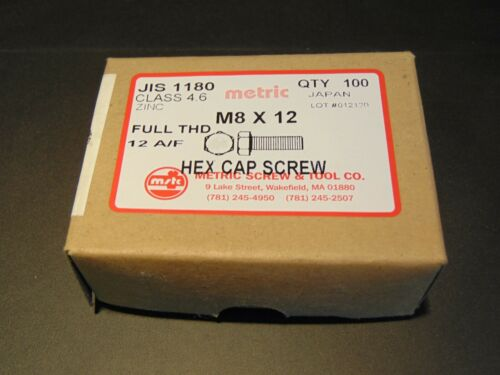 CLASS 4.6 M8 X 12 JIS 1180 HEX CAP SCREW BOLT BOX OF 100pcs 12mm WRENCH SIZE