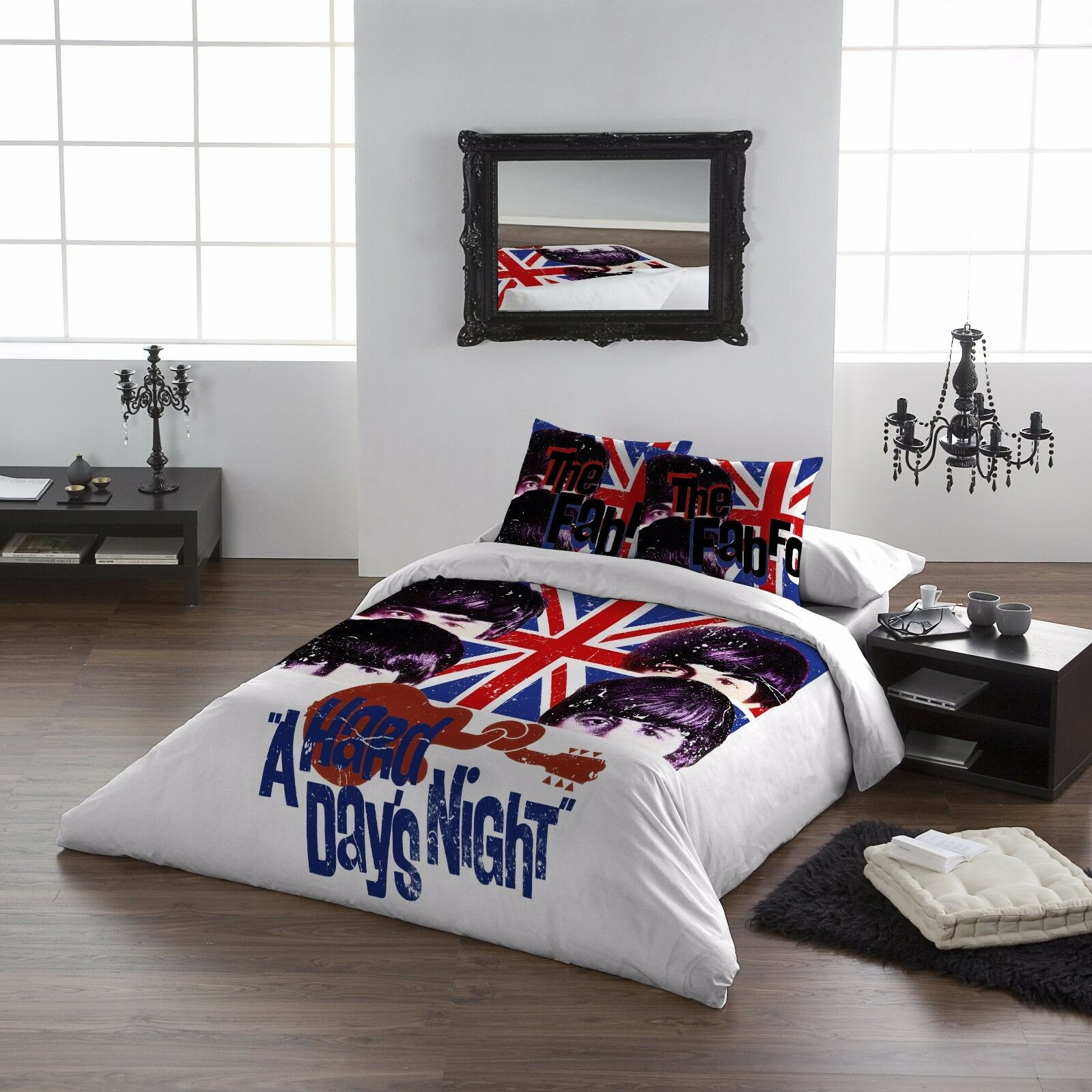 The Beatles HARD DAYS NIGHT - Duvet & Pillows cover set - UK King   US Queensize