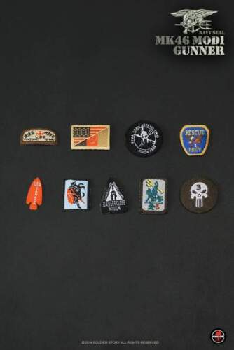 Navy Seal MK46MOD1 Gunner Patches with Logos 1//6th Scale by Soldier Story