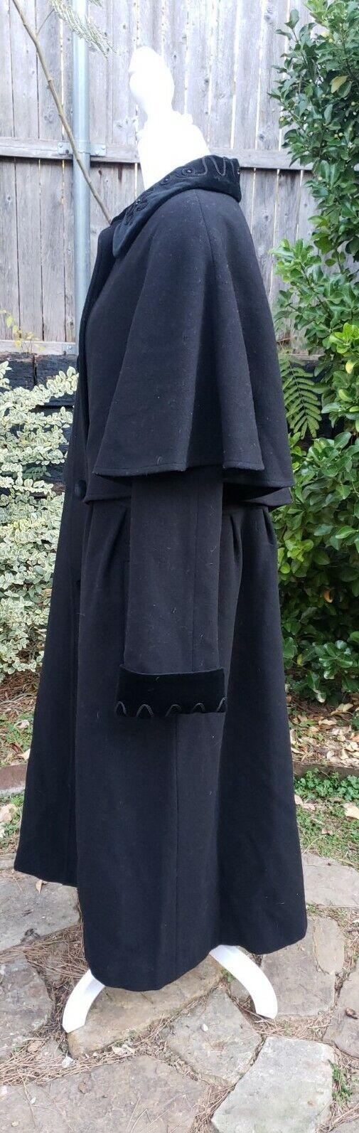 Vtg Donnybrook Black Velvet Embroidery Edwardian … - image 6