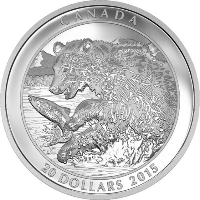 2015 'Grizzly Bear -The Catch' Proof $20 Silver Coin 1oz .9999 Fine(17409)(OOAK)