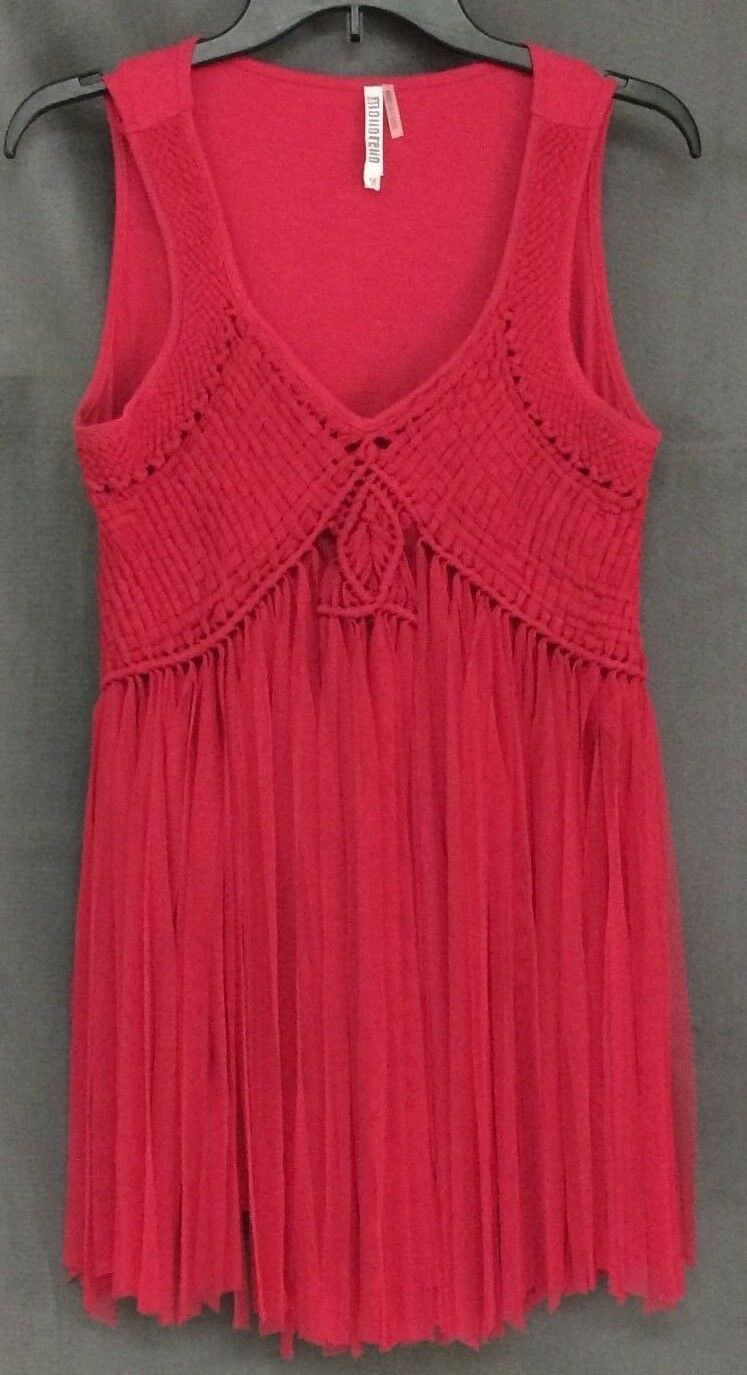 MONORENO Solid Pink Crochet Netting Fringe Front Tunic Top M
