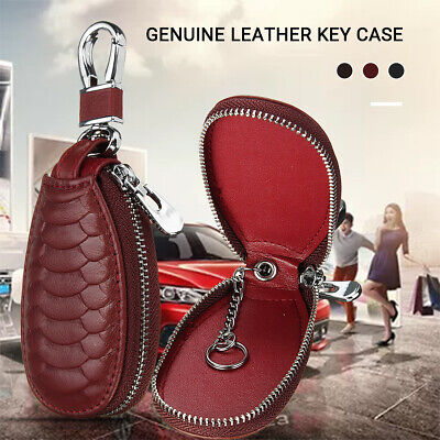 Car Key Chain Remote Holder Case Bag Universal Genuine Leather Zipped Package