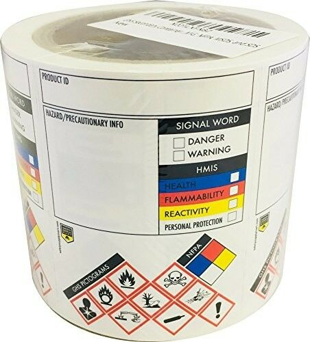 GHS Secondary Container Labels/stickers 250 per Roll 3 X 4 Inch Tough and  for