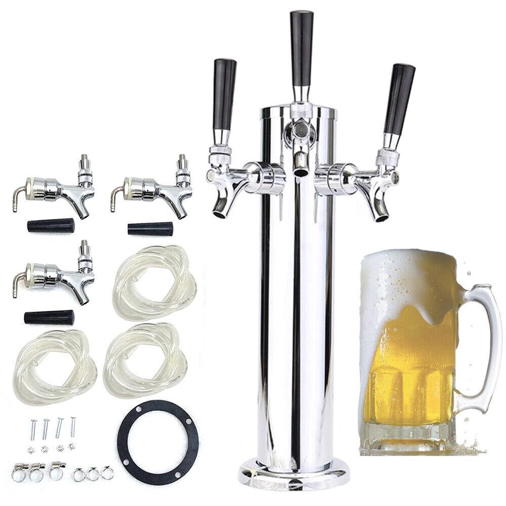 3 Taps Stainless Steel Draft Beer Tower Triple faucet F/Kegerator Beer Dispenser 4