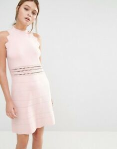 2bf58d4a9 NWT TED BAKER NATLEAH SCALLOP DETAIL BANDED KNIT DRESS BABY PINK ...