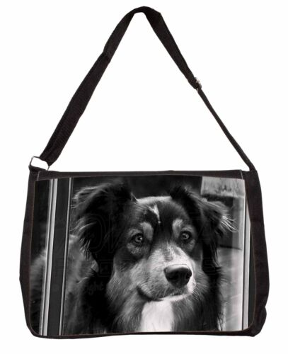 Border Collie in Window Large Black Laptop Shoulder Bag School//Colleg AD-CO70SB