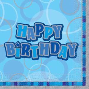 16-x-Blue-Glitz-Napkins-33cm-3ply-Happy-Birthday-Boys-Party-Tableware-Supplies