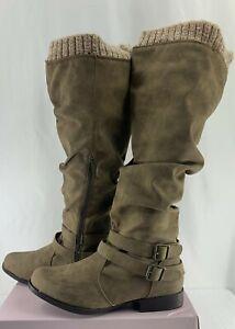 Tan Pilar Wide-Calf Boots Size 8.5W